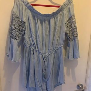 Pants - Powder Blue Romper with bell bottom lace sleeves